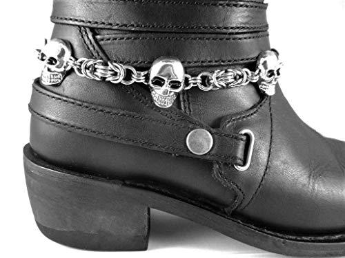 Silver Skulls Boot Bracelet Chains Stainless Steel Byzantine Chainmail Women's or Men's Biker Accessory Custom Jewelry