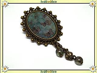 Spilla retro in resina FARFALLE bronzo verde ottone bronzo 18 x 25mm perline regalo in vetro personalizzato natale amico c...