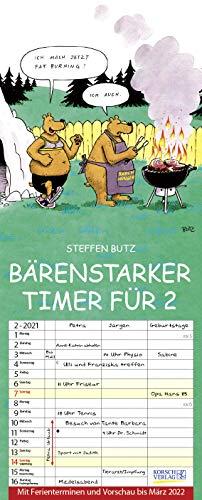 Bärenstarker Timer für 2 2021: Familienplaner mit 3 breiten Spalten. Familienkalender mit Bären-Comics, Ferienterminen, Vorschau bis März 2022 und tollen Extras. 19 x 47 cm.
