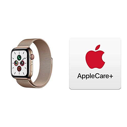 Apple Watch Series 5 (GPS+Cellular, 44 mm) Edelstahlgehäuse Gold - Milanaise Armband Gold mit AppleCare+