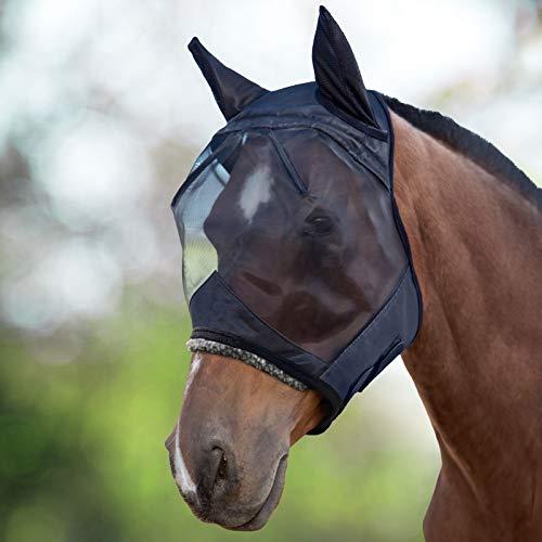 Harrison Howard CareMaster Fliegenmaske UV-Schutz mit Ohrenschutz Schwarz Warmblut (L)