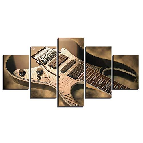 LANKOULI Lienzo Pintura Arte de la Pared Impresiones Marco 5 Piezas Guitarra eléctrica Imágenes Vintage Instrumento de música Cartel Decoración de la Sala de Estar-Size2 Frame