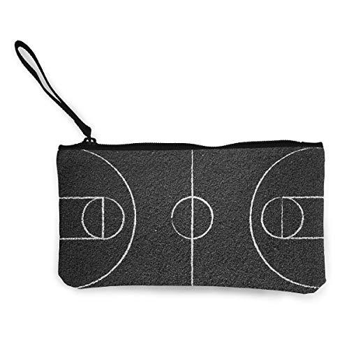 Monedero de Lona para Mujer, cancha de Baloncesto Carteras de Monedero con patrón de impresión en 3D de Lienzo Unisex para Hombres y Mujeres