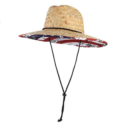 GEMVIE Sombrero Hombre Playa Paja de Sol ala Ancha Verano Unisexo Estilo Socorrista Gorro para Campo/Pesca/Jardin Sombreros (Beige)