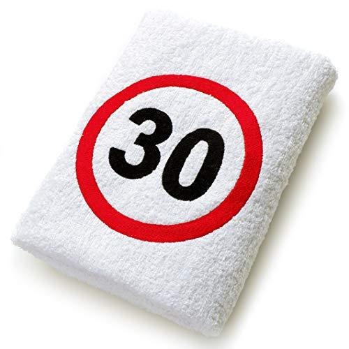 Abc Casa Geschenk zum 30 Geburtstag Handtuch mit aufgesticktem Verkehrszeichen für Mann und Frau - nützliches 30 Jahre Geburtstagsgeschenk - Eine praktische 30 jähriges Jubiläum Geschenkidee