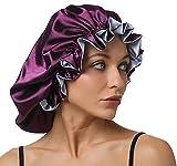 Gorro de dormir de seda para mujer, ajustable, doble capa, para el cuidado del cabello, gorro de noc...