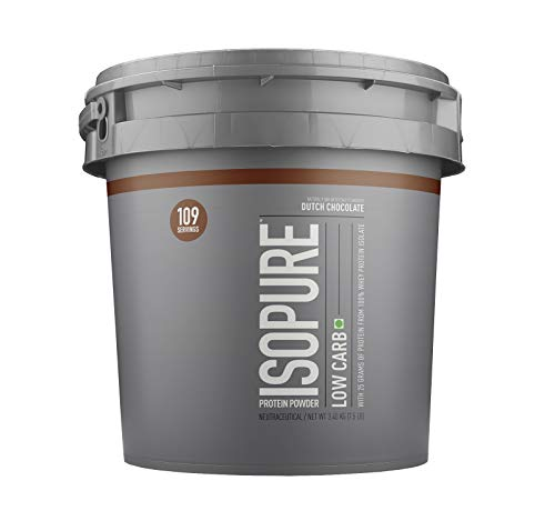 Isopure Low Carb 100% Whey Protein Isolate Powder - 7.5 lbs, 3.4 kg (Dutch Chocolate), 25g Protein per serve, Lactose-Free,...