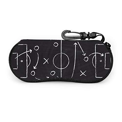 Wthesunshin zonnebril, softcase, voetbalspel, tactisch patroon met voetballer en strategisch spel, pijlzak met ritssluiting en riemclip
