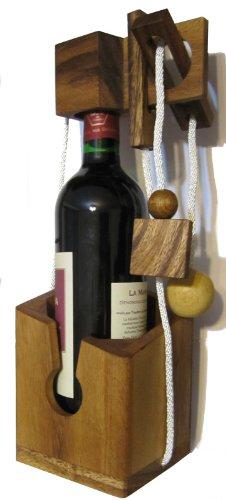 LOGOPLAY Flaschen-Tresor - Schnurpuzzle - Denkspiel - Knobelspiel - Geduldspiel - Logikspiel aus edlem Holz