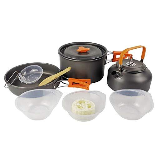 Caldera Al Aire Libre Situada Portátil Pot Kit Cookware Que Acampa Kit Ligera Antiadherente Para Picnic Al Aire Libre Senderismo Naranja Camping Caldera