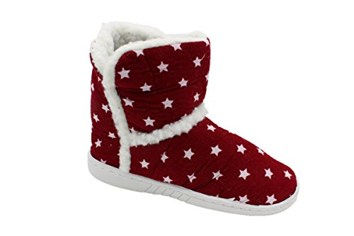 buyAzzo Kinder Stiefel Hausschuhe Pantoffel Schuh Norweger Hüttenschuhe Warmfutter BA410508 (31, Rot)