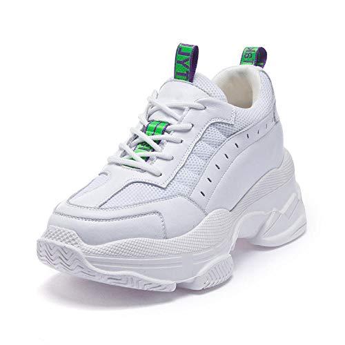 Zapatos Casuales de Cuero con Plataforma para Mujer, Estilo Deportivo Mejorado, Transpirable, Port¨¢Til, c¨®Modo, Deportes internos, Senderismo al Aire Libre @ Solid_Color_37