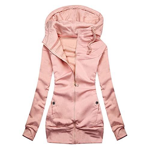 Women Casual Zip Up Hoodies Tunic Sweatshirt Long Pullover Solid Jacket Autumn Winter Blouse Cardigan Tops Coat Pink