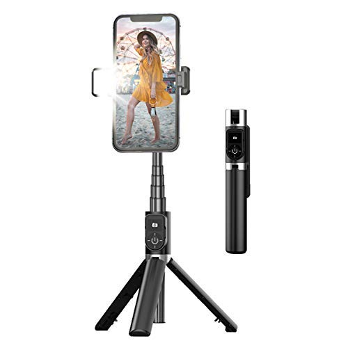Tripé para selfies, bastão para selfies extensível e portátil, com controle remoto Bluetooth e luz de preenchimento(P70D)