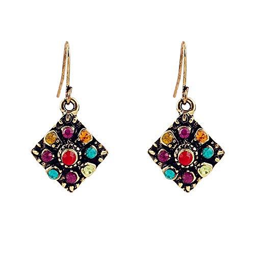 Usstore 1Pair Women Bohemian National Wind Retro Rhinestone Ear Stud Earrings Jewelry Eardrop Gift