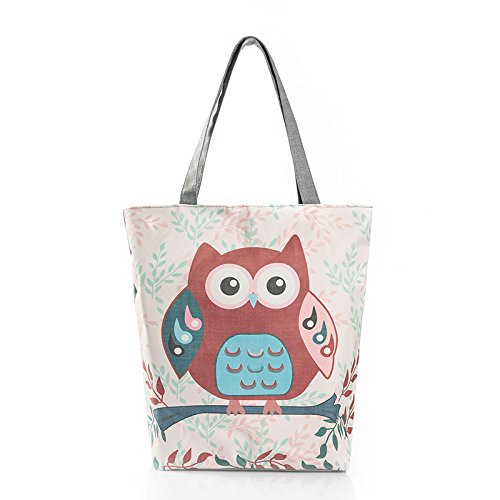 Burger Bro Cotton Canvas Zipper Tote Bag with Interior Pocket, Reusable Washable and Ecofriendly, Perfect for Shopping Travelling School (white owl)