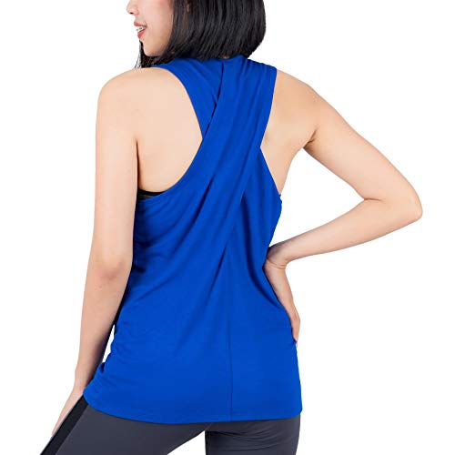 LOFBAZ Workout Tank Tops for Women Yoga Clothes Womens Athletic Shirts Gym Exercise Running Active Fitness Sports Clothing Tanks Top Blue 4XL
