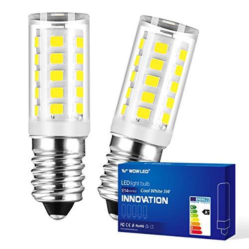 WOWLED E14 LED Bulbs, 5W Cool White 6000K Kitchen Range Hood Home Lamp, Non Dimmable, Energy Saving Light Bulbs, 2 Pack