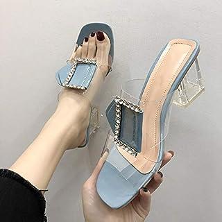 Summer Women High Heel Slippers Transparent Ladies Sandals Cstal Open Toe Flip Flops Female Slides Fashion Shoes
