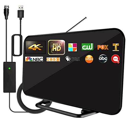 2021 Upgrade TV Antenna with Powerful Built-in Amplifier,220+ Miles Range Digital HDTV Antenna-19.6ft Long Cable,Support All Television,Smart Signal Booster for Free Local Channels 4K 1080P VHF UHF