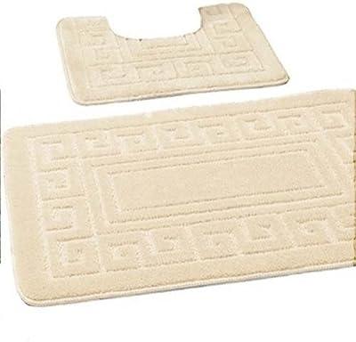 EDS - Lot de 2tapis de salle de bain antidérapants de style grec comprenant 1tapis de bain et (50x80cm) et 1tapis WC (50x40cm), Crème