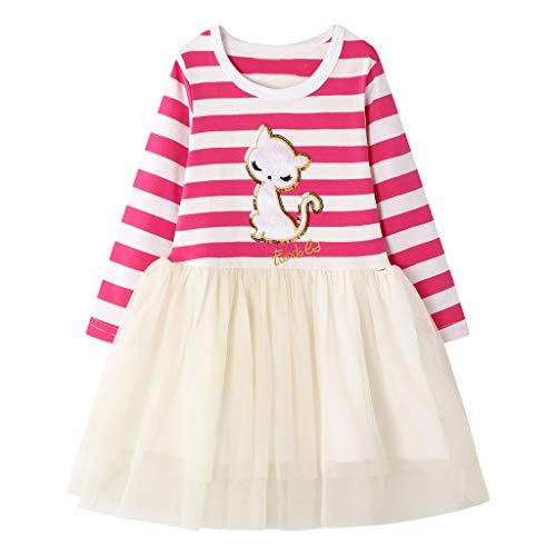 Deloito Kinder Kleidung Kleinkind Mädchen Süss Prinzessin Kleid Cartoon Tier Gestreiften Druck...