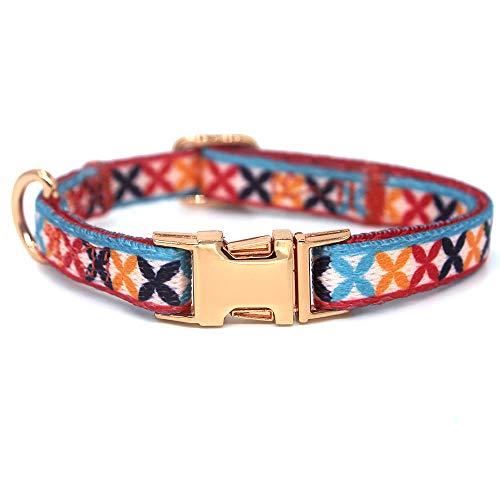 Rhea Rose Hundehalsband mit Metallschnalle, D-Ring, verstellbar, für kleine, mittelgroße und große Hunde (XS (Halsumfang 20,8 cm - 29 cm, Breite 0,9 cm), Flora)