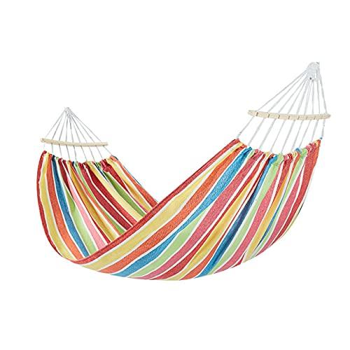 Campinghangmat Verdikte duurzame canvas hangmatten met twee anti-roll evenwichtsbalken en stevige metalen knoop boombanden voor kamperen, terras, achtertuin, buiten(Color:b)