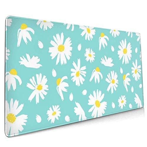 Multifunktions-Mauspad, erweitertes großes Mauspad, Mauspad für Büro/Spiel/Familie Schöne weiße Gänseblümchenblume