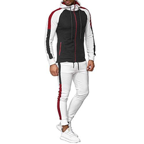 XUEBing Conjuntos de 2 piezas para hombre chándal con trajes de jogging conjuntos gradiente cremallera sudadera con capucha impresión superior pantalones conjuntos