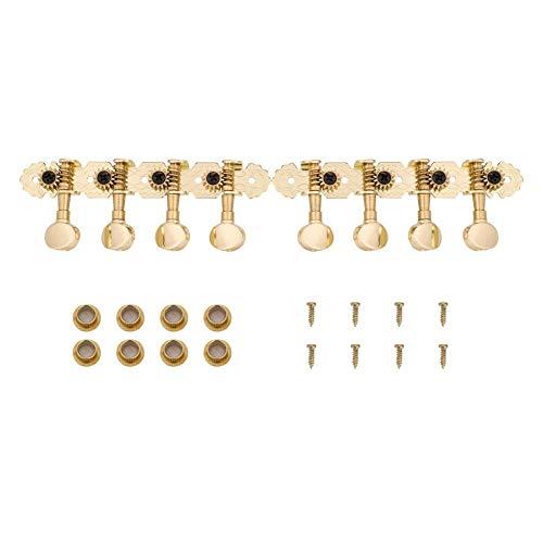 Dilwe Mandoline Stimmwirbel, Metall Mechaniken Tuning Pegs Metal Button Set Zubehör für Mandoline (Gold)
