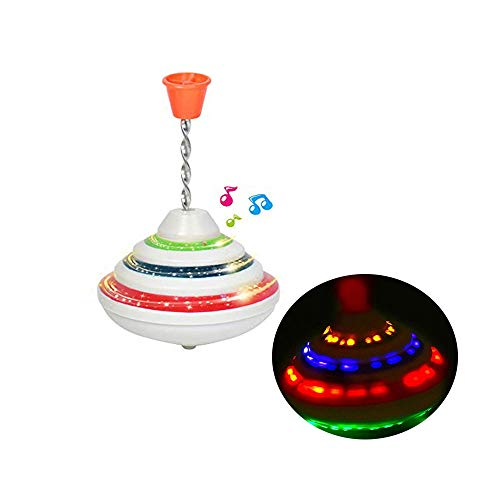 Push Down Spinning Top Toy with LED and Music Peg-top Hand Spinning Gyro Toy Gift for Kids