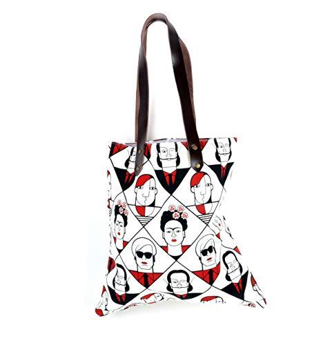 Kahlo Warhol Dali Picasso / Lichtenstein Mondrian De Chirico - große moderne Künstler - rote und schwarze Leinentasche mit Ledergriff