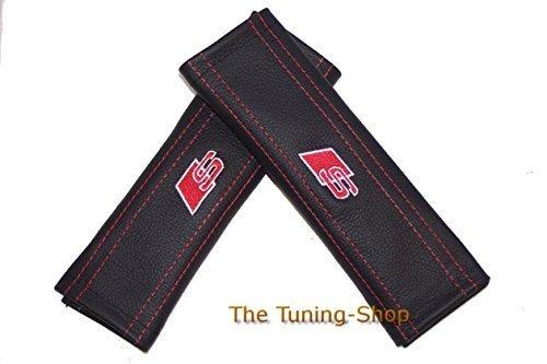 2x neue Sicherheitsgurt für Pads Schulter Leder rot Stickerei S