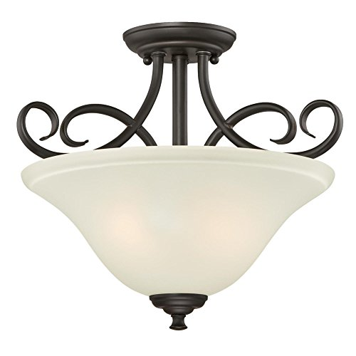 Westinghouse Lighting, Oil Rubbed Bronze 6306500 Dunmore Two-Light Indoor Semi-Flush, Finish with Frosted Glass