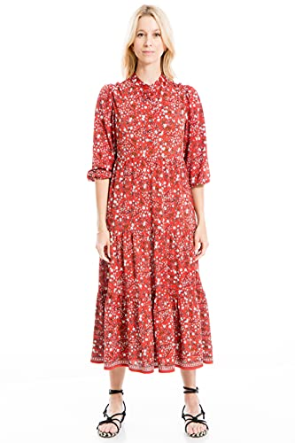 Max Studio Women's Jersey Elbow Cuffed Sleeve Button Placket Midi Dress, Rust/Gold Large Scribble Daisy Panel, Small