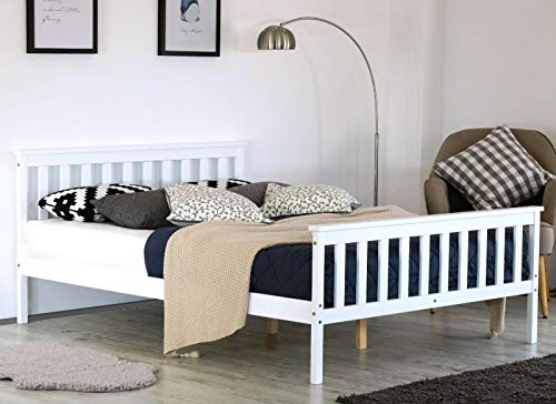 Home Treats Double Bed In White 4'6ft Solid Wooden Frame Perfect For Adults Kids Teenagers