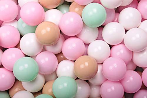 MEOWBABY 200 ∅ 7Cm Kinder Bälle Spielbälle Für Bällebad Baby Plastikbälle Made In EU Pastellrosa/Beige/Weiß/Minze
