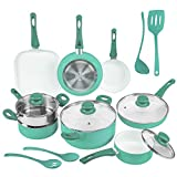 Ivation Ceramic Cookware | 16-Piece Nonstick Cookware Set with Induction Base, SoftGrip Handles