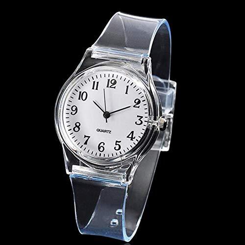 MZY1188 Reloj de Pulsera de Cuarzo para Mujer, Reloj de plástico Transparente de PVC Reloj de Pulsera de Cuarzo, Caja de Acero Inoxidable, Correas de Reloj Transparentes