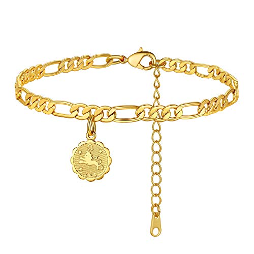 ChainsHouse Leo Tobillera Pulsera de Mujer 18K Oro baño, 22cm + 5cm largo