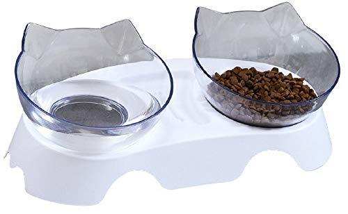 DHGTEP Comedero para Gatos con Soporte Elevado, Comedero Gato Antivomito Inclinada a 15° Que Reduce el Dolor de Cuello para el Comedero de Mascotas (Color : White)