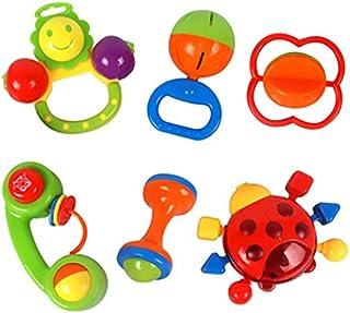 6 قطع/مجموعة العاب الاطفال البلاستيكية، خشخيشة على شكل جرس، لعبة الاطفال، 1 دعسوقة و1 شكل الشمس 1 تليفون 1 دمبل 1 كرة 1 شك...