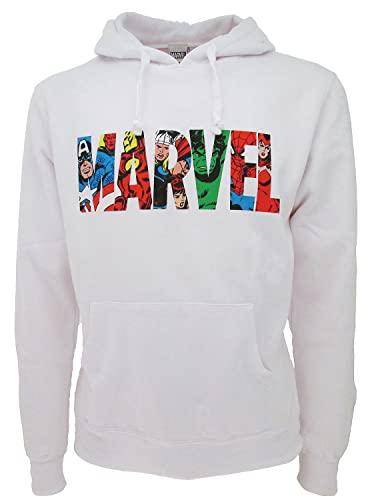 Sudadera Marvel original de cómics superhéroes blanca capucha bolsillos oficiales hombre mujer, Color blanco., M