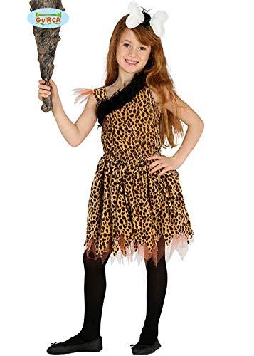 Magic Box Disfraz de niña cavernícola prehistórica de Talla Infantil Large (10-12 Years)