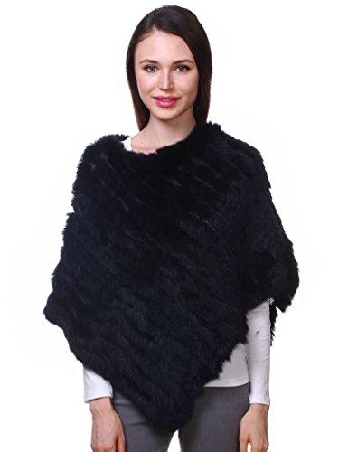 Ferand Echter Kaninchen Pelzponcho Wärmender Pelzumhang für Frauen,Schwarz