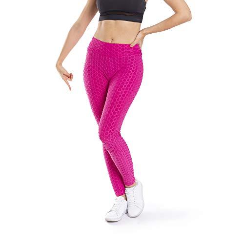 Trendcool Mallas Deportivas Mujer. Leggins Deportivos Mujer para Running, Padel, Yoga y Ejercicio. Mallas Deporte Mujer. Malla Rosa. (M16, S/M)