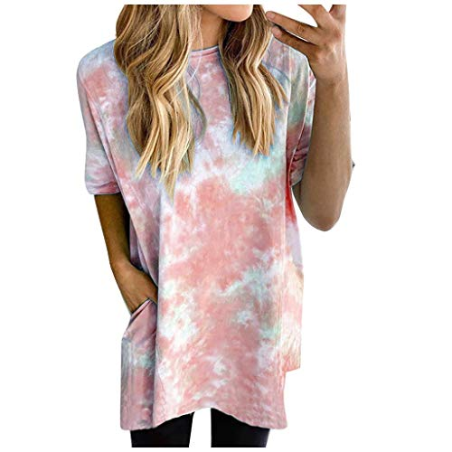 Price comparison product image QueenMM Women's Casual Tie Dye T-Shirts Comfy Short Sleeve V Neck Summer Basic Tee Tops Blouse Fashion 2020 D - Wine