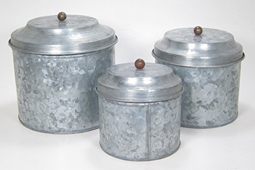 Antique Style Galvanized Tin Canister Set by Park Hill