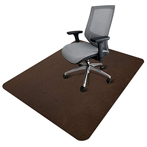 """Office Chair Mat, Upgraded Version - SALLOUS Hard Floor Mat for Desk, 1/6"""" Thick 63""""x51"""" Low-Pile Office Desk Chair Mat for Hardwood Floors, Multi-Purpose Protector Chair Carpet for Home (Brown)"""